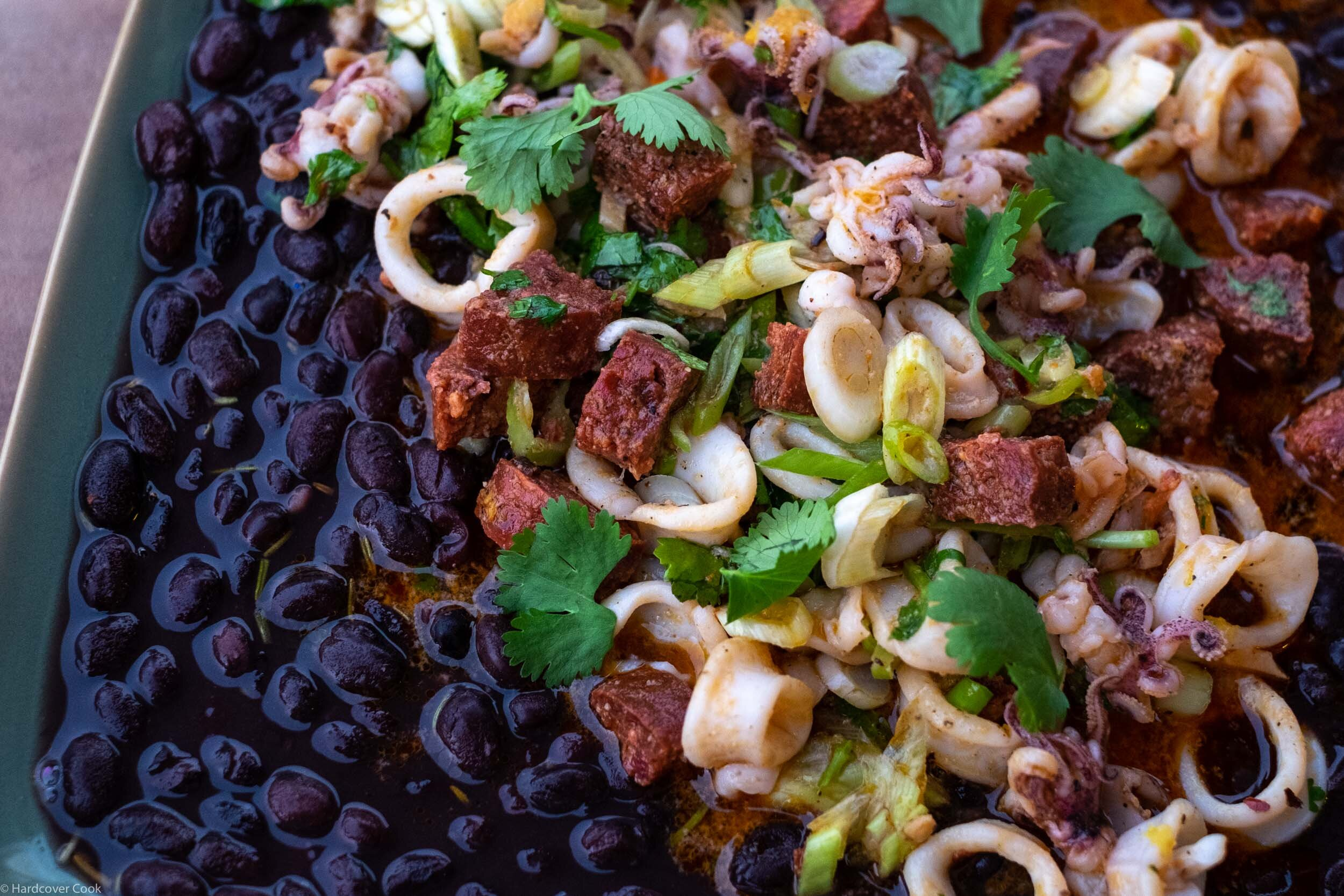 Black Beans with Chorizo and Squid from David Tanis Market Cooking