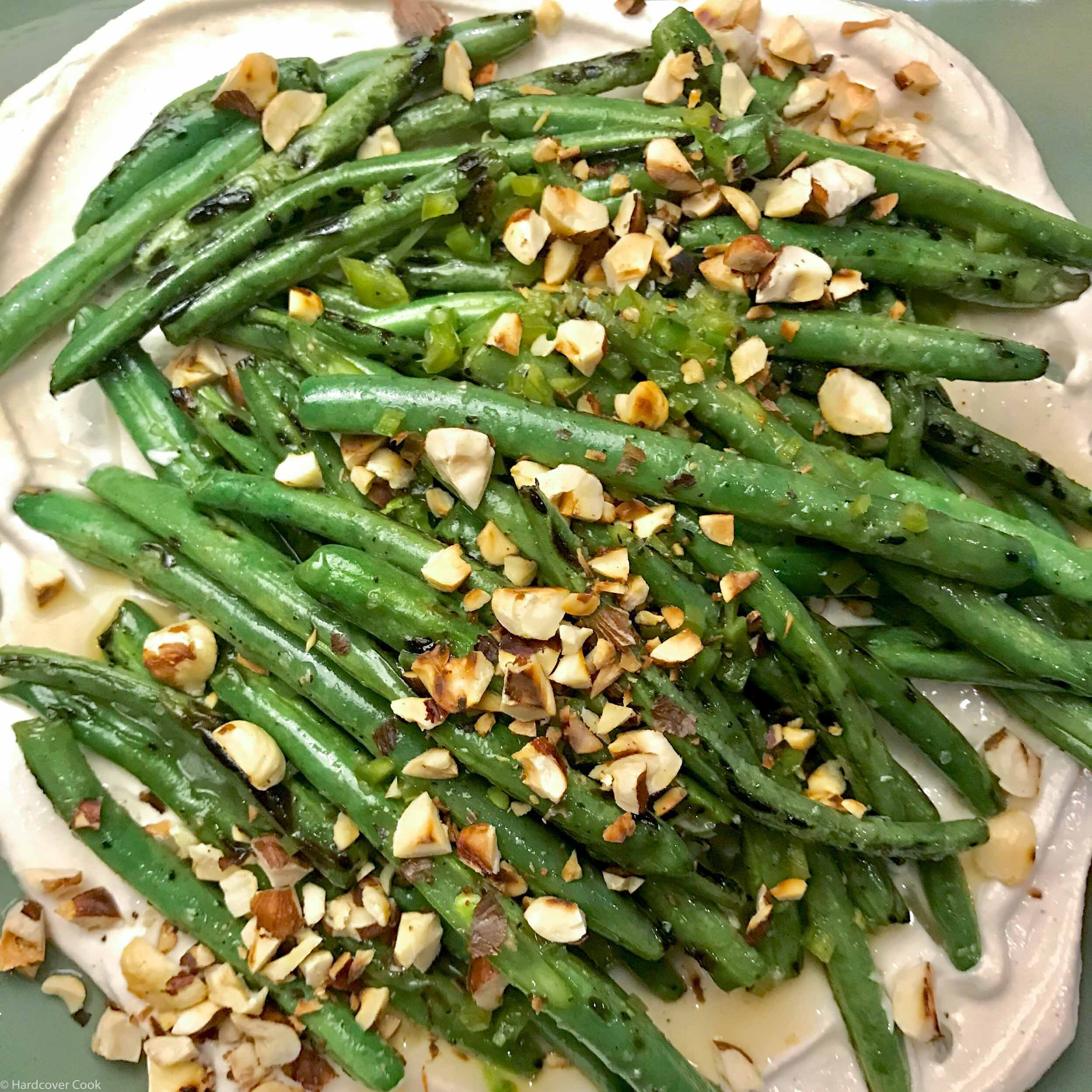 Blistered Green Beans with Creamy Tahini and Fresh Hot Sauce from Dining In