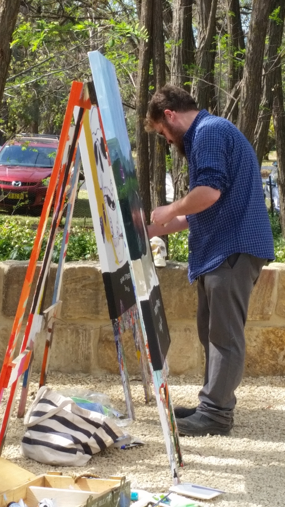 Ben at work in the grounds of the gallery