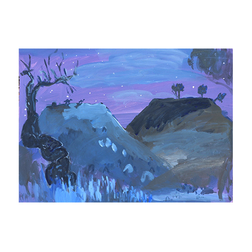 "Emily Imeson ""When the Spinifex Turns Blue and the Trees Come Alive"" 76 x 56cms. Acrylic on Arches paper."