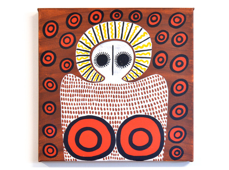 "Petrina Bedford ""Djalala & Wandjinas. Wandjinas with boundary stones on their bodies. Acrylic on canvas 45 x 45cms. This and other works from Mowanjum Arts and Maningrida Arts and Culture are available. We can ship artworks anywhere. Go to ARTISTS page for catalogues."