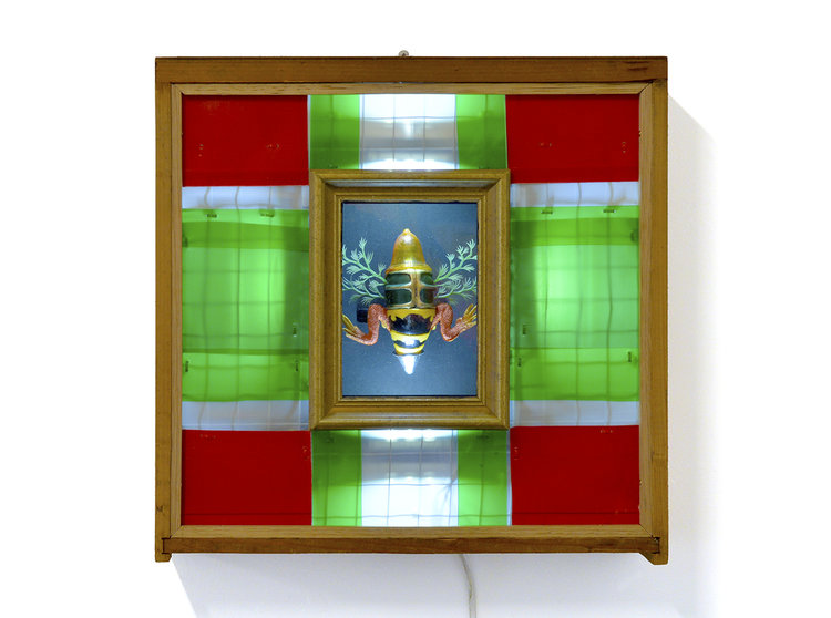 """Ken O'Regan """"Reliquary II"""" 2019.  Found object assemblage with LED lighting. 12d x 42.5w x 42h cm."""