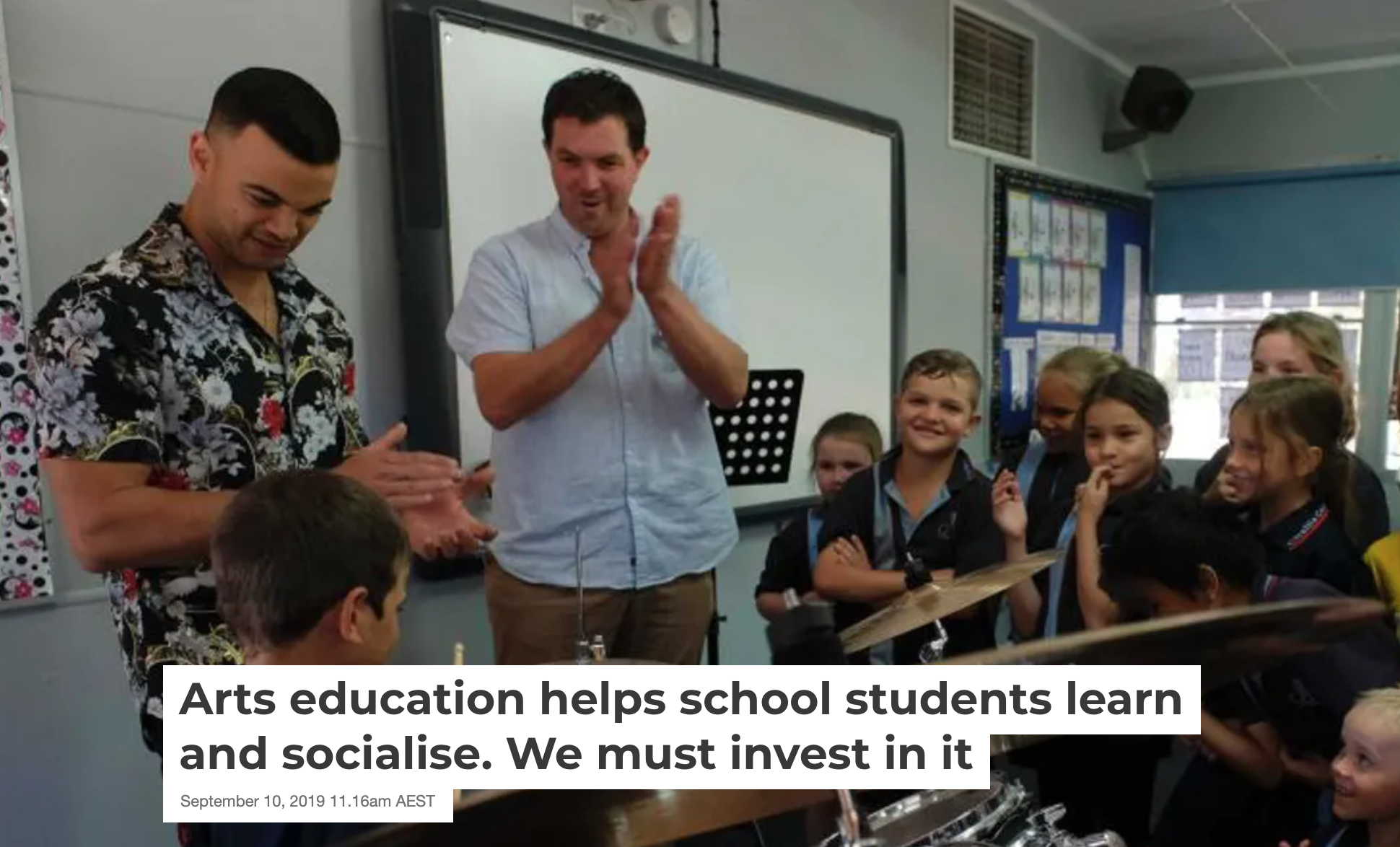 Arts education helps school students learn and socialise. We must invest in it!