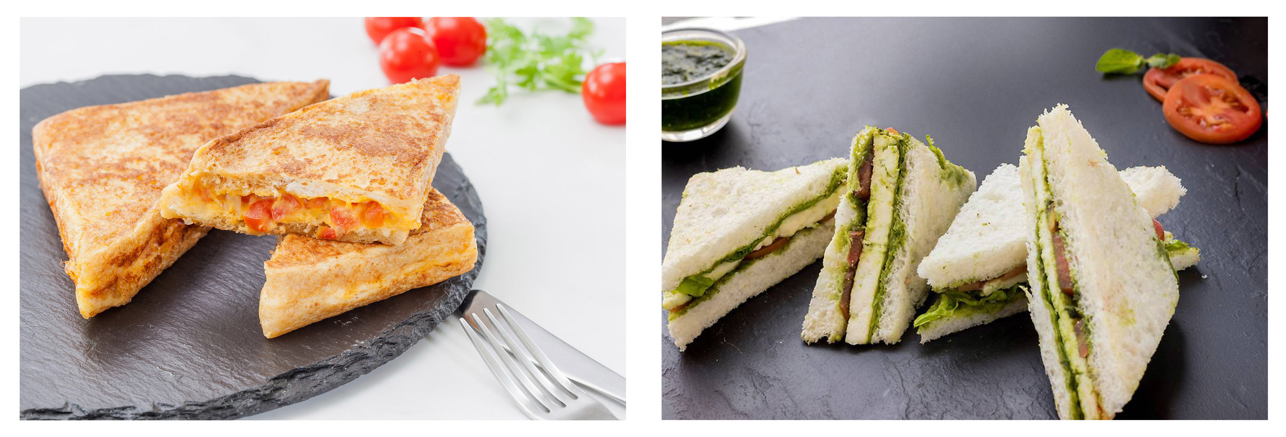 Desi French Toast (left); Home Style Chutney Paneer Sandwich (right)