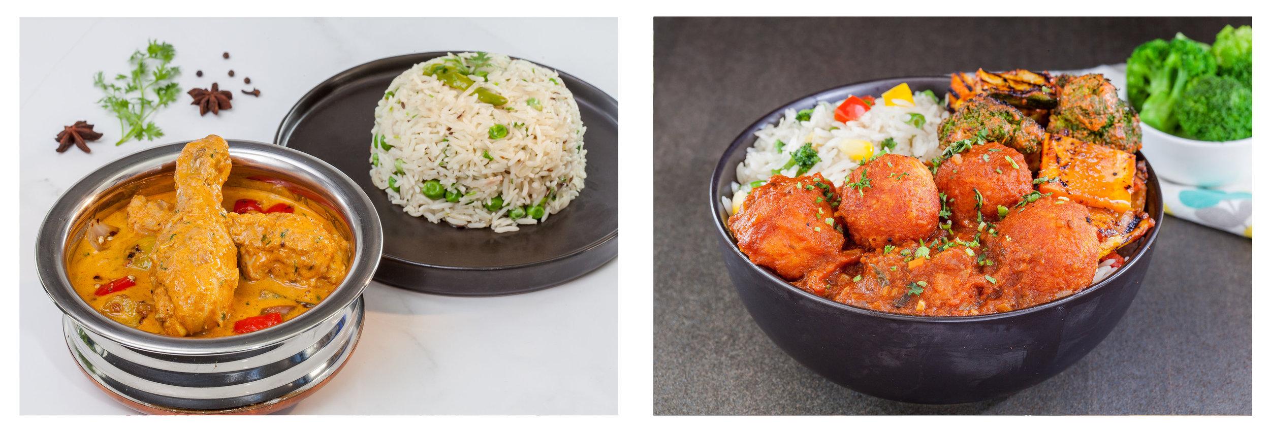 Kolhapuri Chicken Rice Bowl; Shahi Kofta Rice Bowl