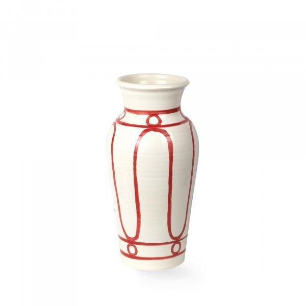Serenity Burgundy on White Pottery Vase