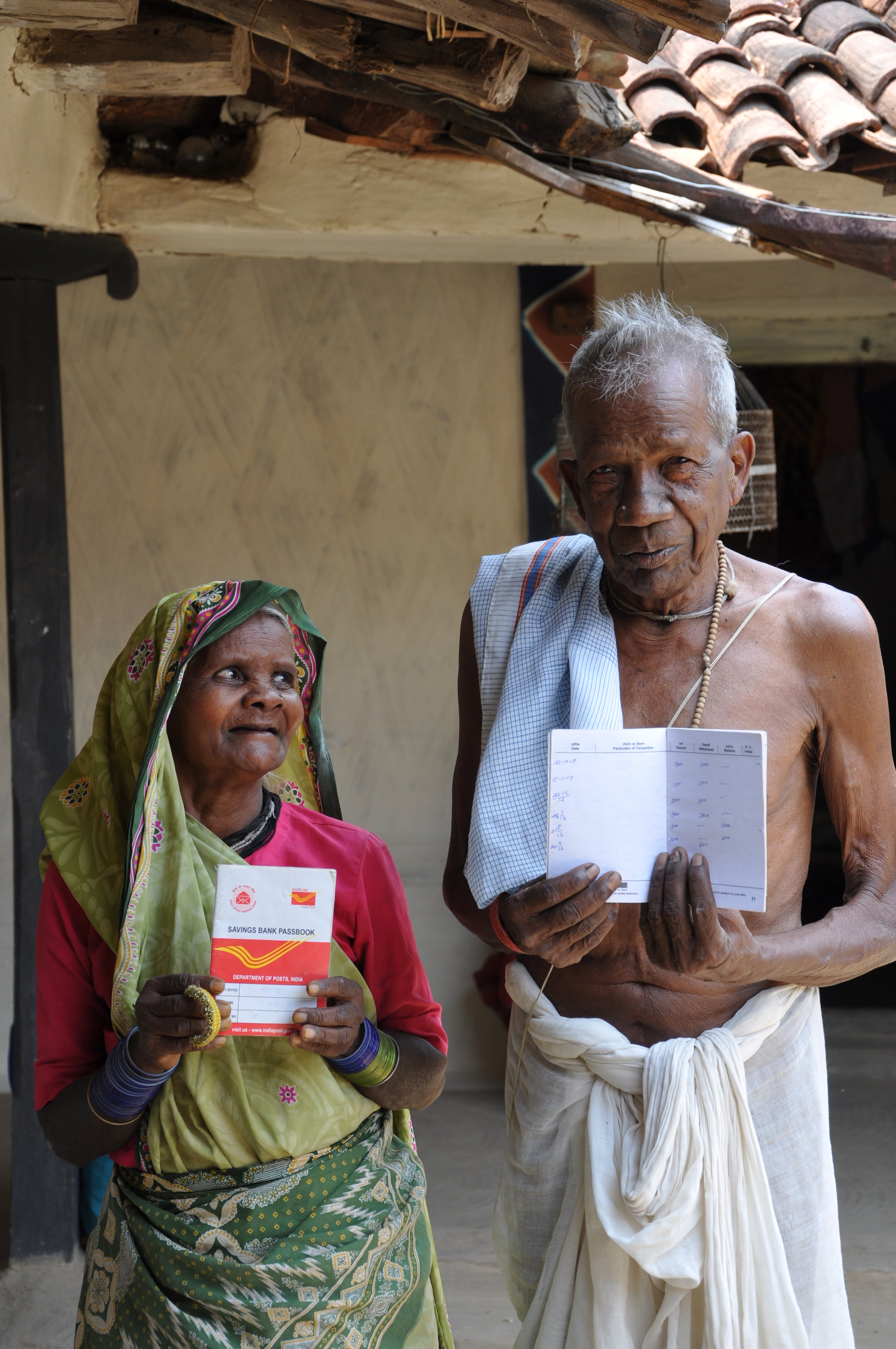 Kunti and Surajman receive monthly pensions of Rs 300 each in Sarguja, Chhattisgarh under National Social Assistance Programme. Central government has frozen pension coverage at 25% of what it should be, and not increased its contribution of Rs 200/monthly since 2006.
