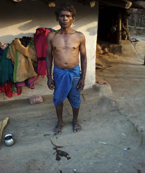 Budhram , a Majhwar Adivasi, has been denied his pensionof Rs 2,150 because of Aadhaar linking errors.