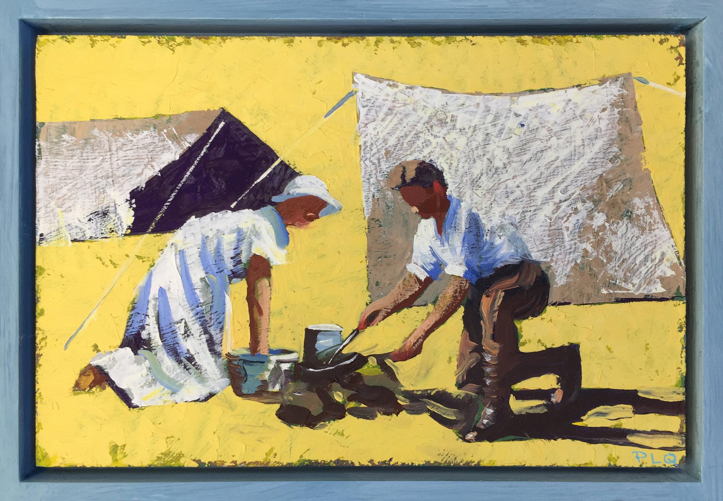 "PLQ ""Gränspatrullen"" olja på pannå, 20 x 30 cm, 2017"
