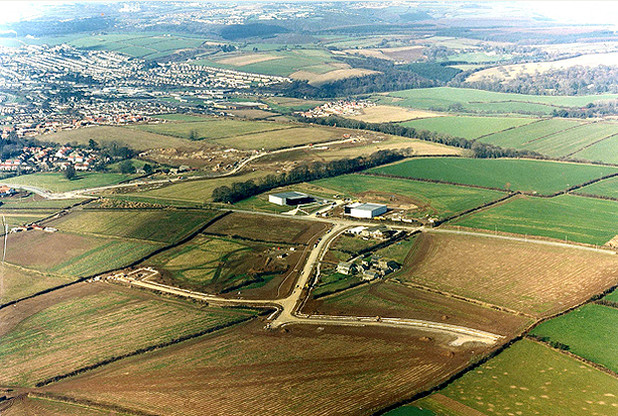 An aerial view of Langage Science Park in about 1988