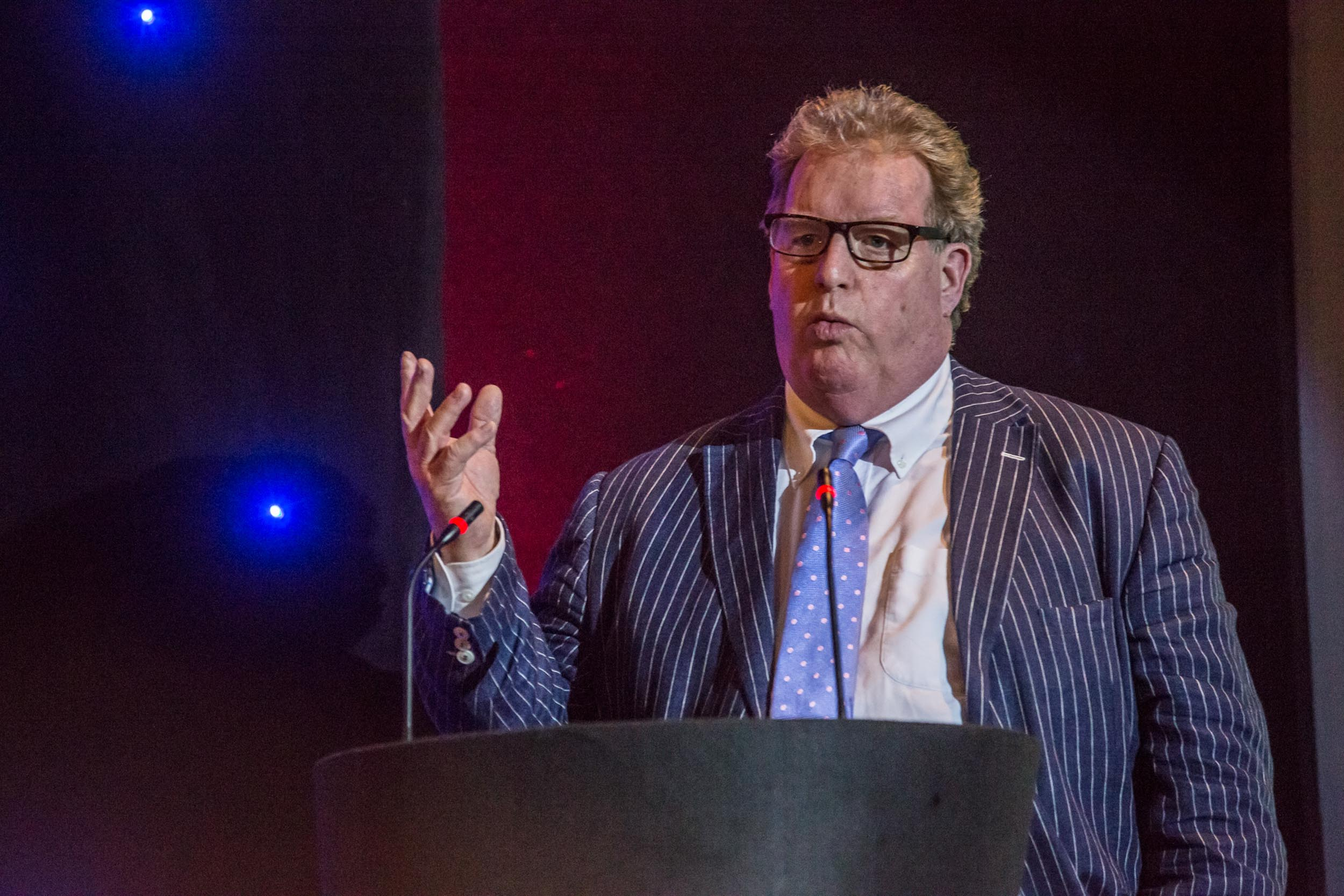 NICK HURST, Executive Chairman of SPONSORS Artemis Optical, speaking at the weaf awards 2017