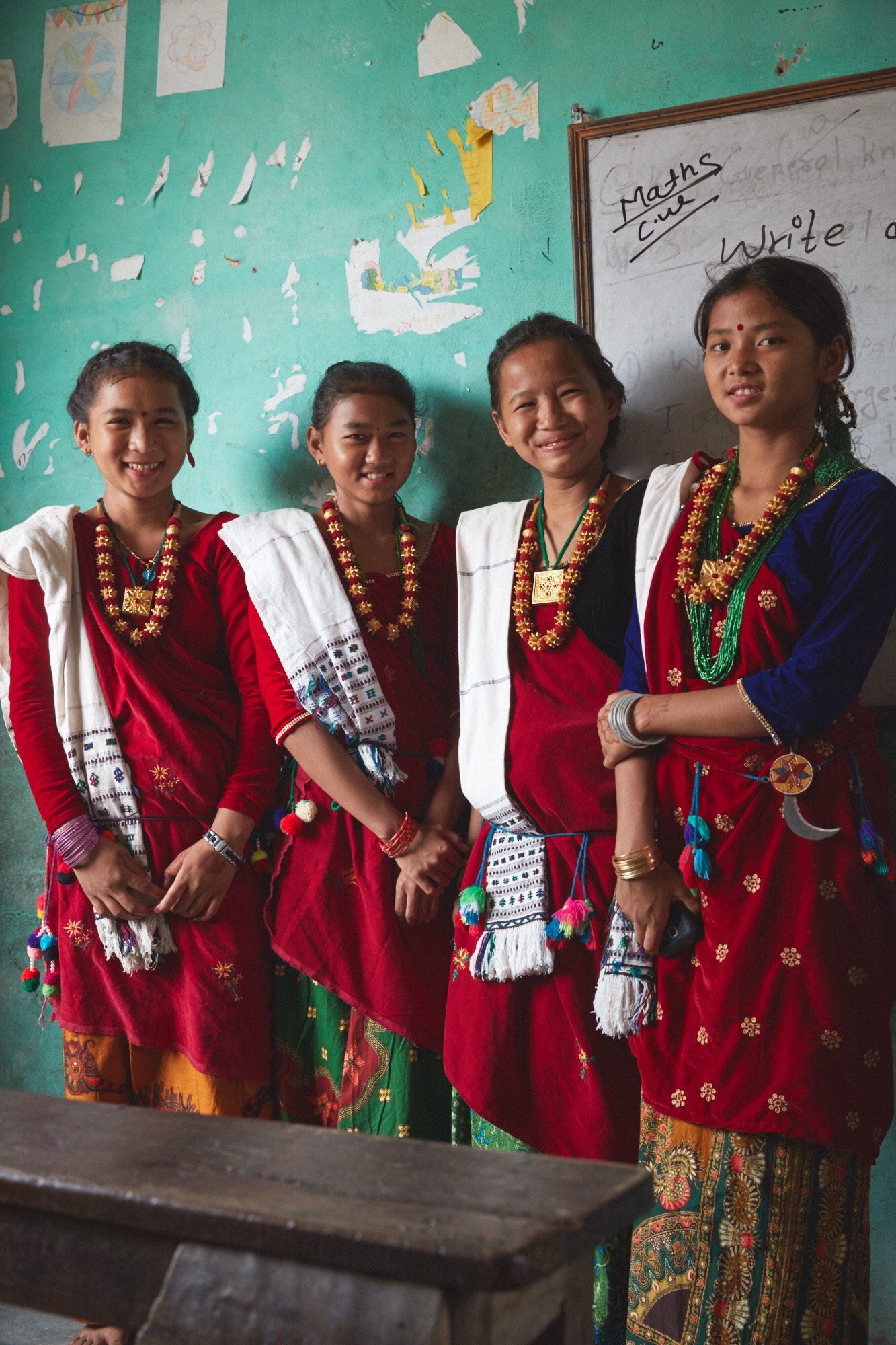 The girls dance troupe at our soon to be completed school project, Shree Sakala, Devi, Nepal.