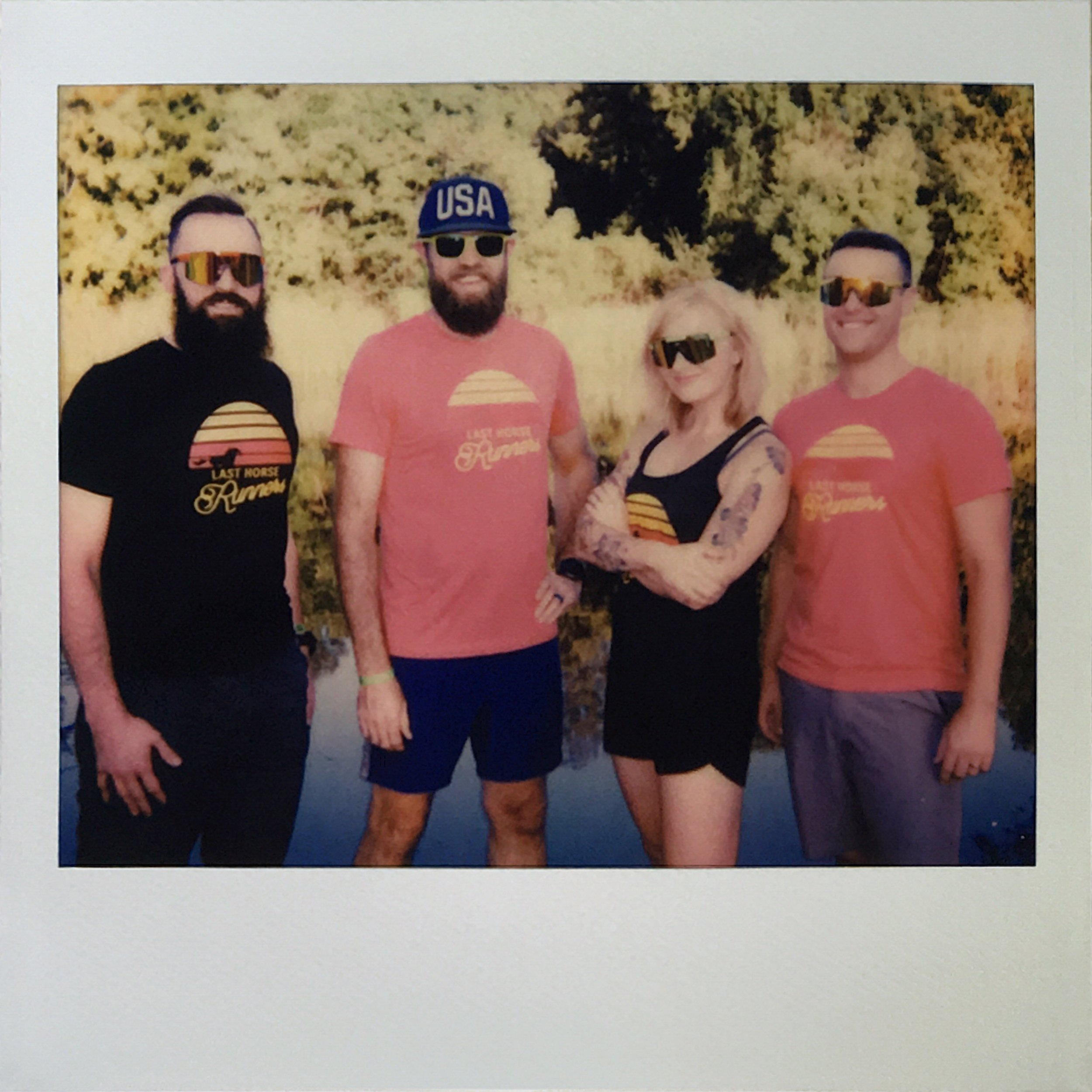 Two racers on the left, and two crew members to the right. The Last Horse Runners co-founders are ready to roll.   From Left to Right - Kurt, Eamonn, Kristin, Matt (me)