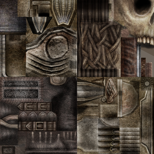 A texture from Ghosthunter, a game we worked on a long time ago. Modern games actually have more textures, with specific information in each one; Normal/Specular/Roughness/Albedo/AO... you get the idea :/