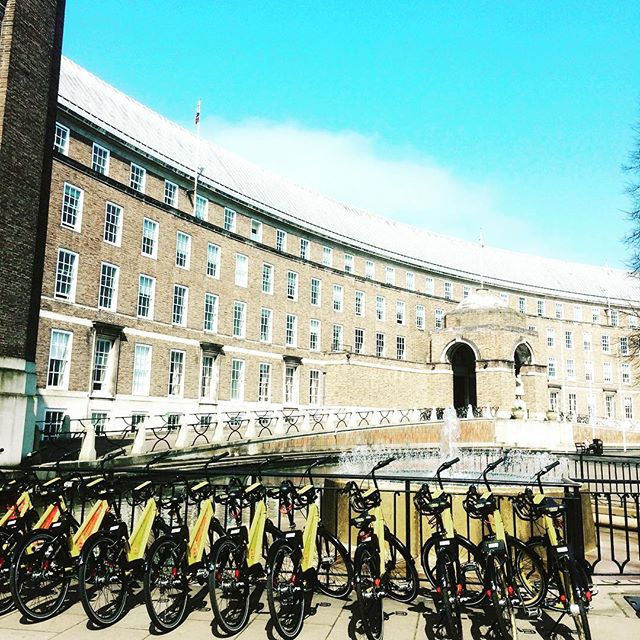 Cold days are coming.  Wrap up as #warm as possible or #rideabike to stay warm. Just remember to bring your #gloves.  #bristolcentrallibrary #bristol #bristolcathedral #townhall #urbanmobility #onyobike