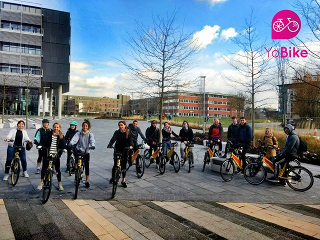 Want to go on a ride with friends but don't have a bike for them? No worries. #socialcycling #onyobike This bunch rode from #UWE to #bristol town centre for only £1 each. #urbanmobility #studentbikes #uweride
