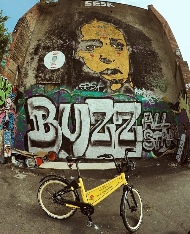 Iconic #Bristol #graffiti and a cheap way to #getaround. Good way to see the city for #visitors and newbies to Bristol. #sharebike #stokescroft