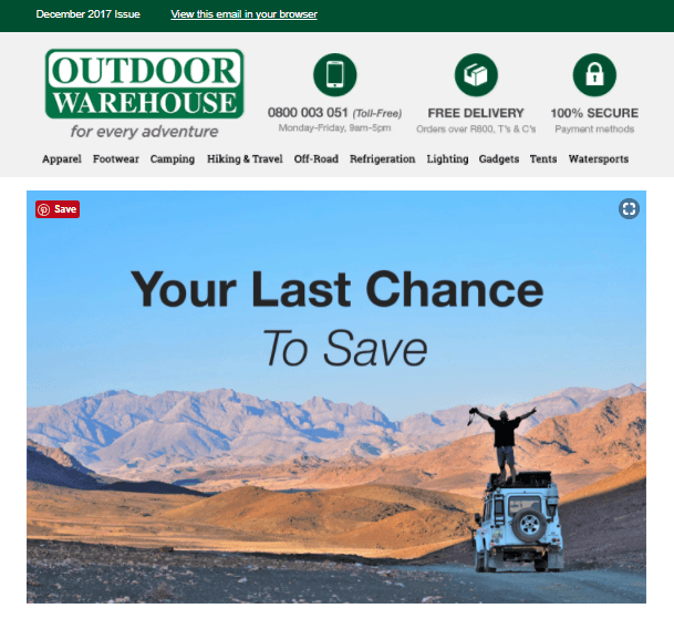 Outdoor Warehouse Promotional Newsletter