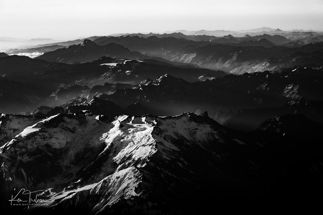 Flying of the Andes Mountains in Chile - South America
