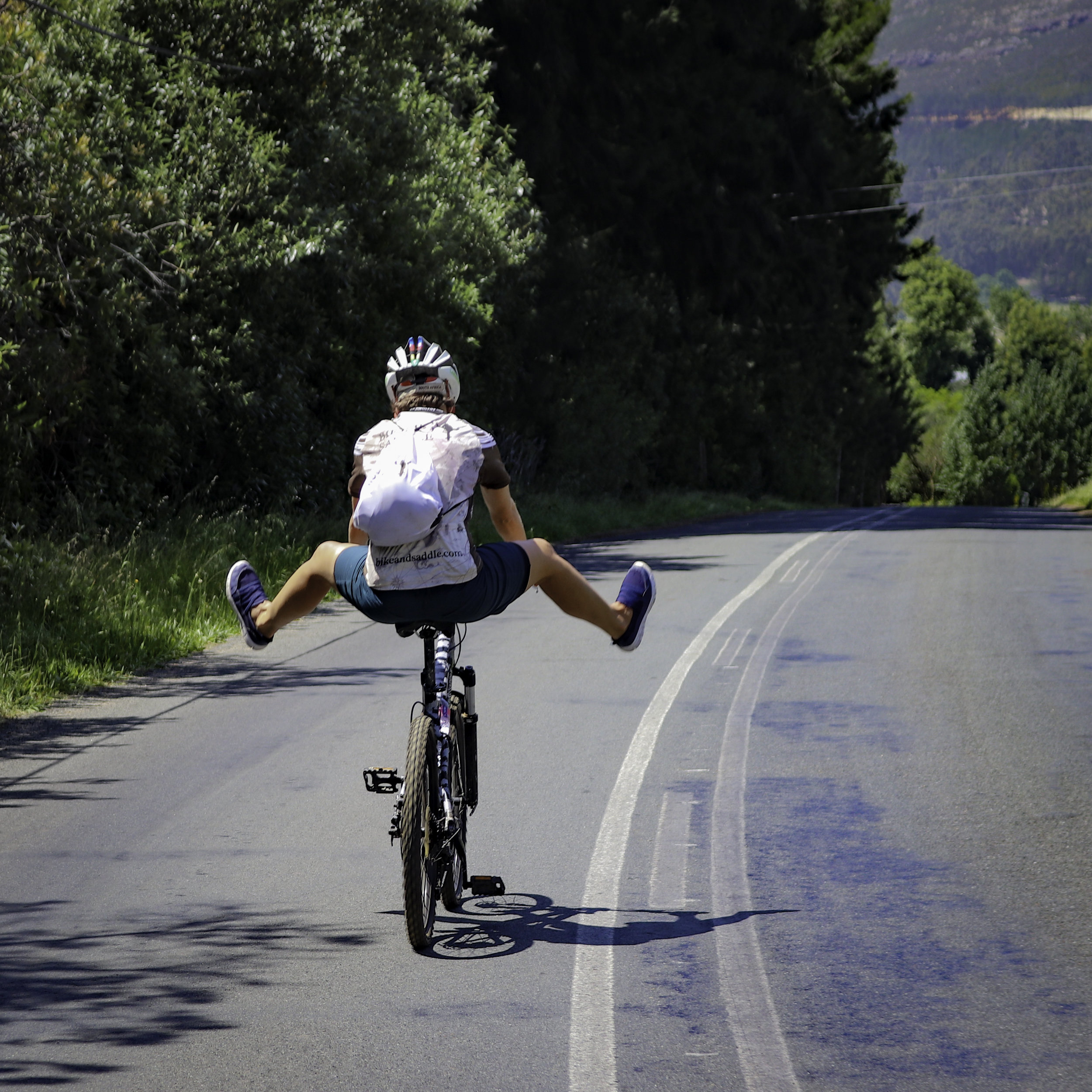 Fun and games! Reproducing the Bike & Saddle logo… in Franschhoek.