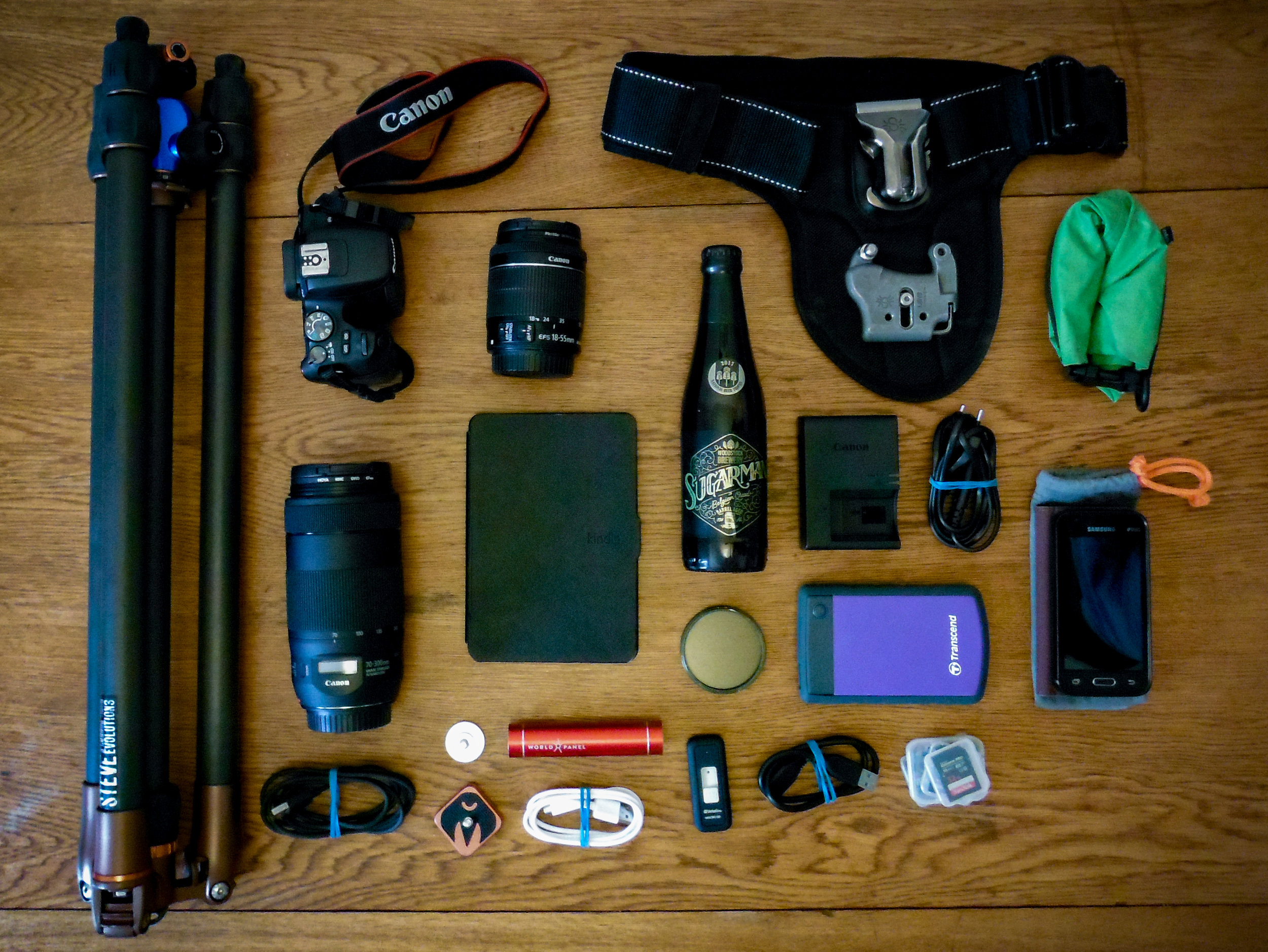 This was some of my gear used last year, and while some things have stayed, a lot has changed. Maybe I should do another one of these top-down photos of my current setup?
