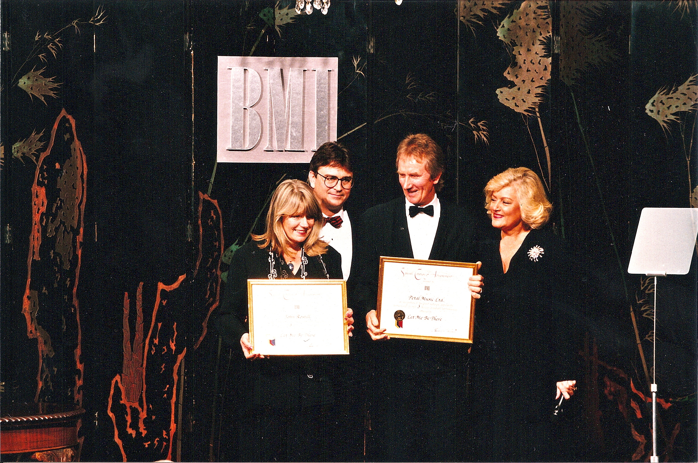 AWARDS - John Rostill's widow Margaret and I pick up a BMI award for John's song LET ME BE THERE jpg copy.jpg