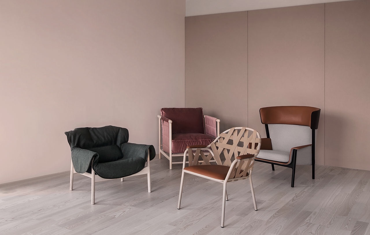 Agnes, Agda, Eva and Estrid chairs created by Front, Broberg & Ridderstråle, Andreas Engesvik and Emma Olbers for Ire.