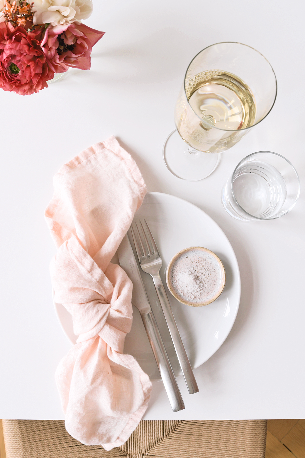 March Dinner Party Inspiration With Pale Salmon + Fresh Flowers