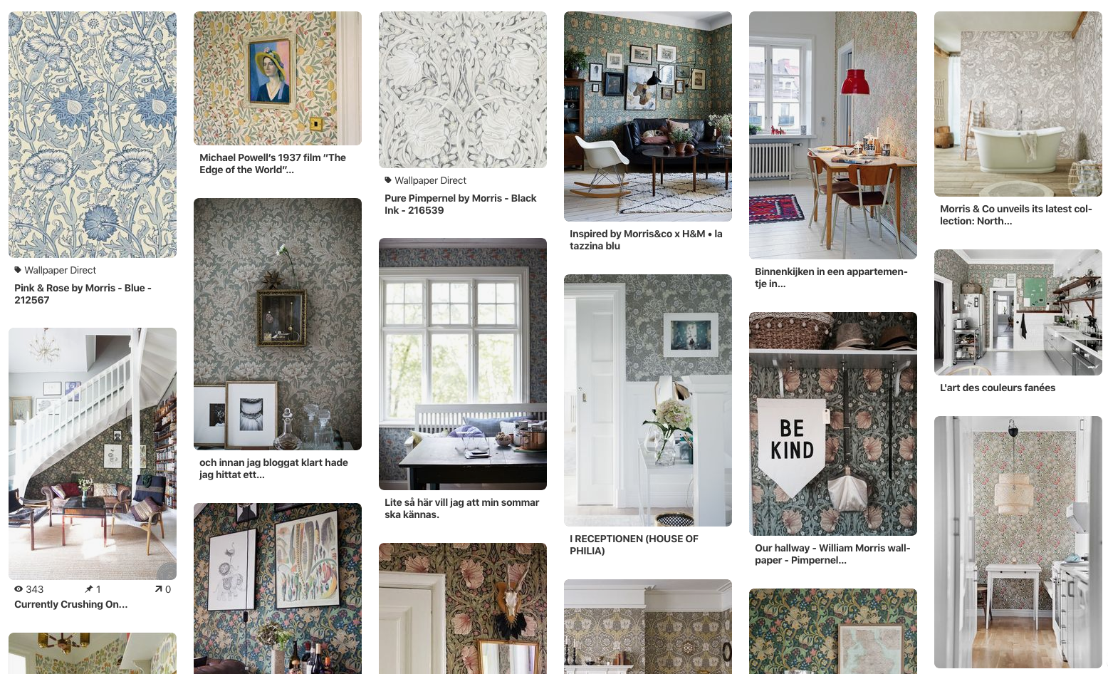 My Pinterest Board showing Morris & Co in various interiors