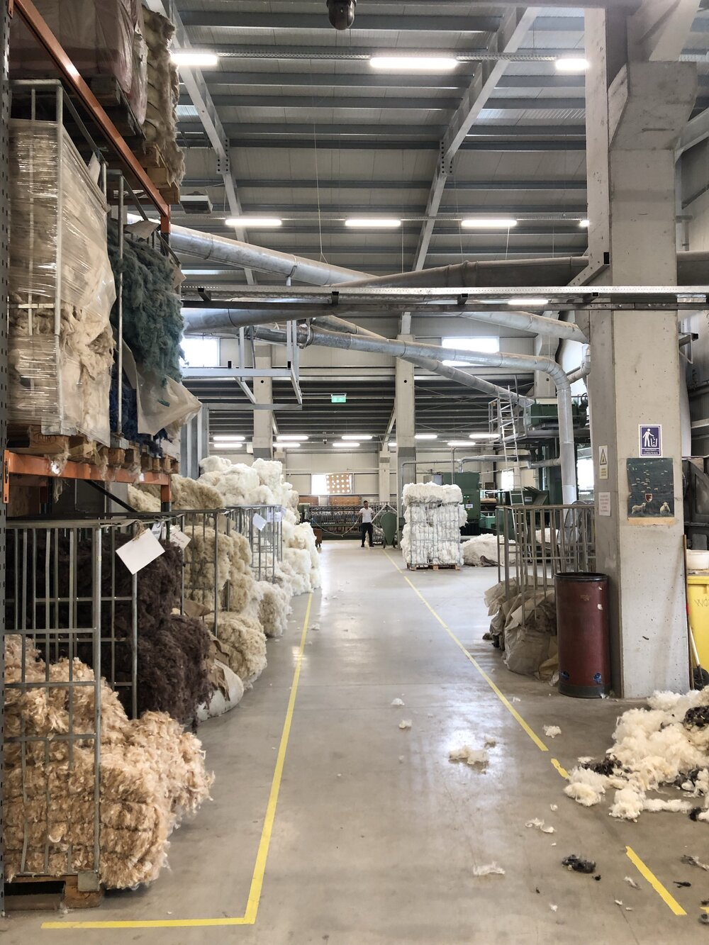 Where the wool is cleaned and prepared