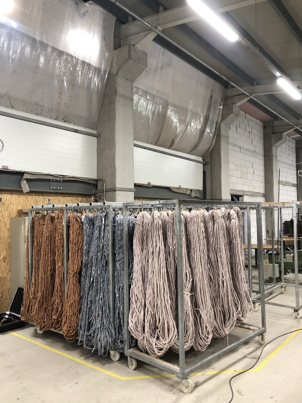 Wool being hung to dry