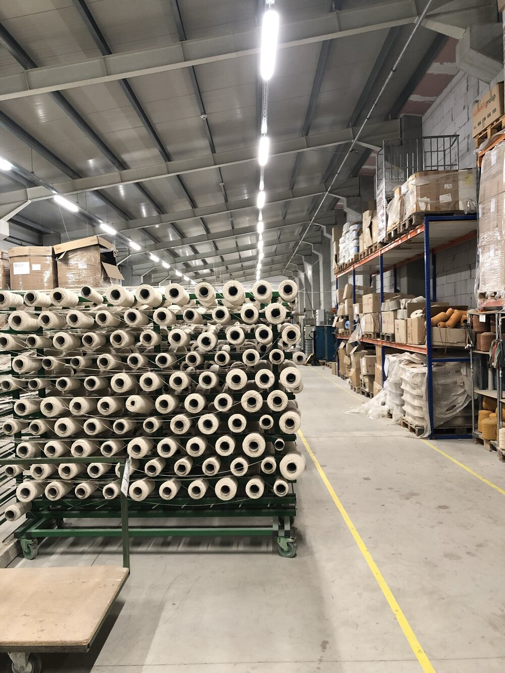 section in factory where only certified organic yarn is used