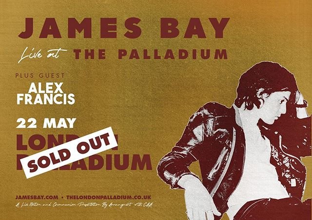 Totally👌 to be opening up for the bro @jamesbaymusic next week at the London Palladium! It's going to get REAL 🔥 See you there 🤙