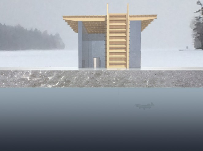 Modern Ice Hut rendered section