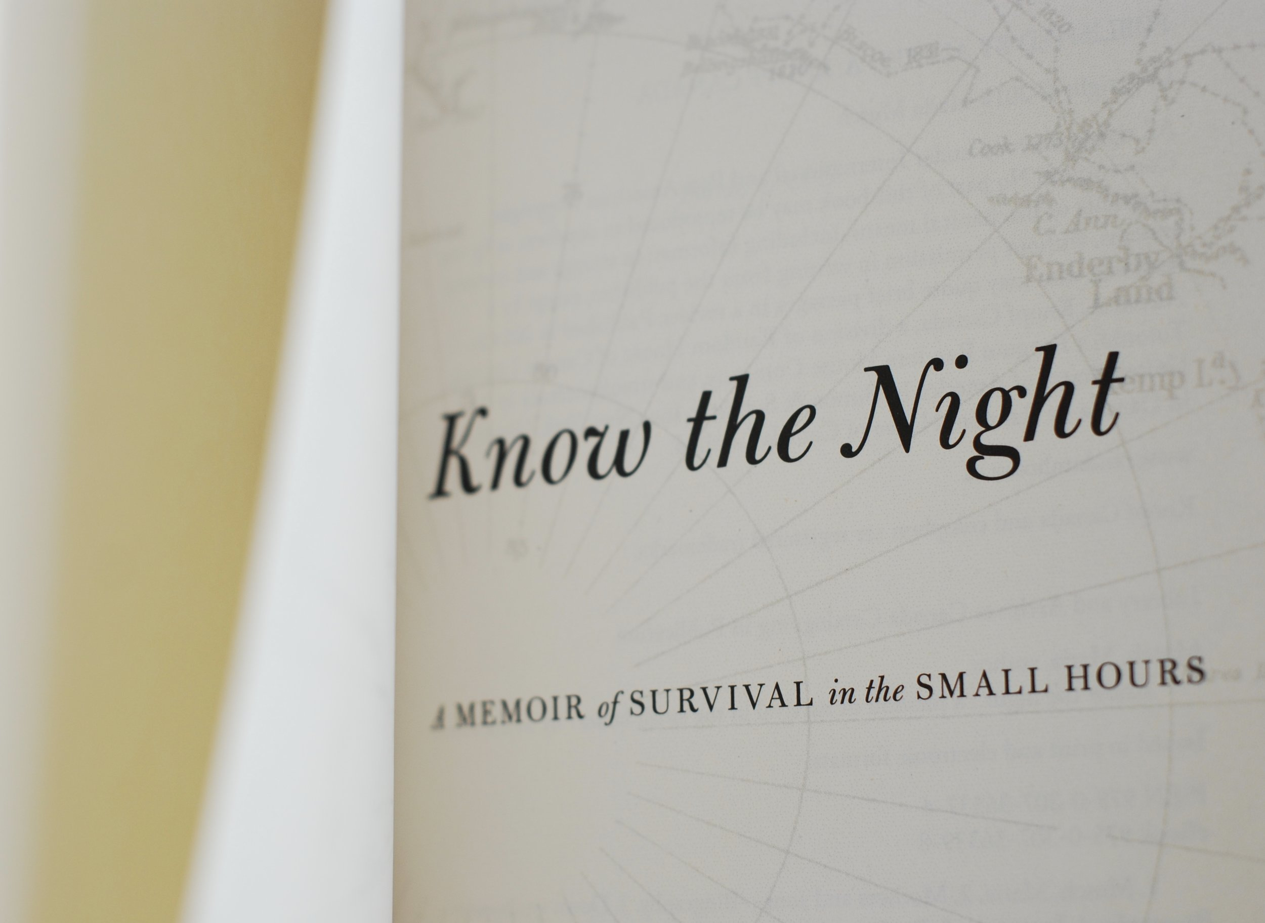 Know the Night, inside cover
