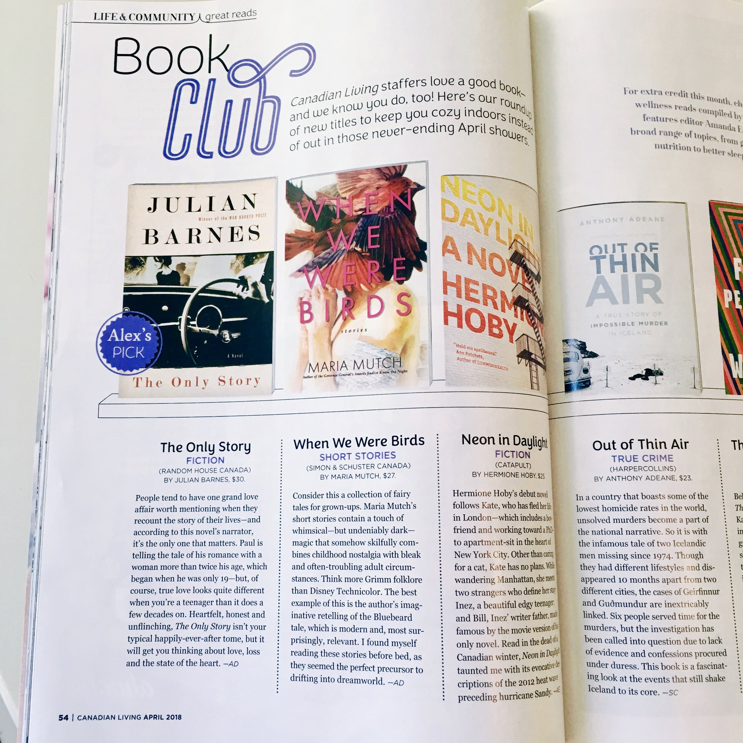from CANADIAN LIVING MAGAZINE's Book Club - APRIL, 2018