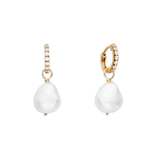 4fdd499aec1c1 Gold Huggie Pearl Drop Earrings — Lily & Roo