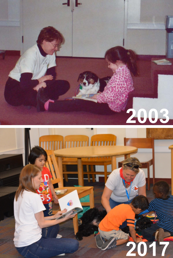TOP:  Our first SitStayRead Dog, Shandy, listens to our very first SitStayRead student, Carly, read out loud.   BOTTOM:  Program Leader Jamie reads with a young student while Dog Team Sue and Macy teach others about Dog Safety (and get some belly rubs in the meantime!)