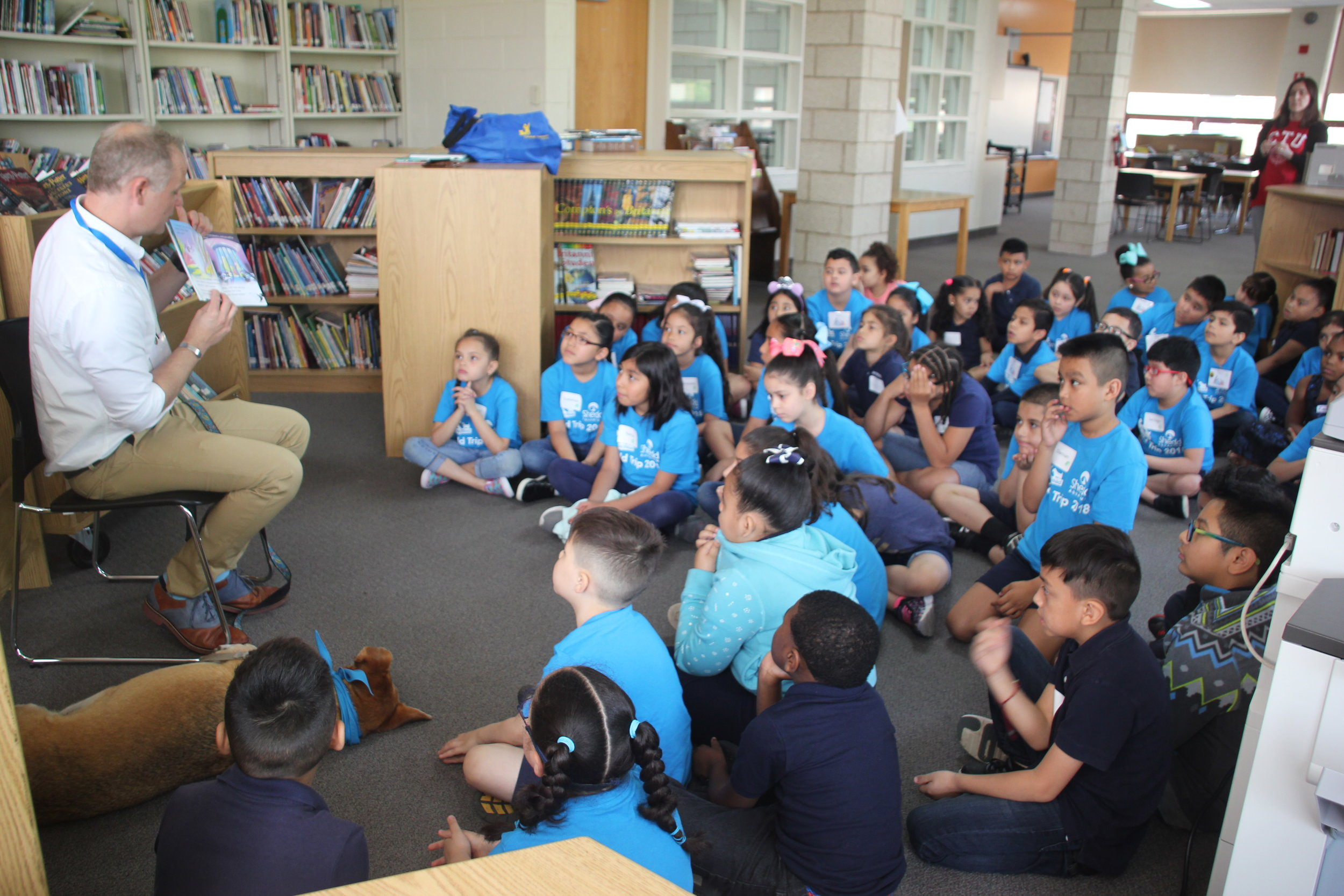 Author J.B. Blankenship reads Where Are You, Dozer? out loud to the authors at Funston Elementary for the first time.