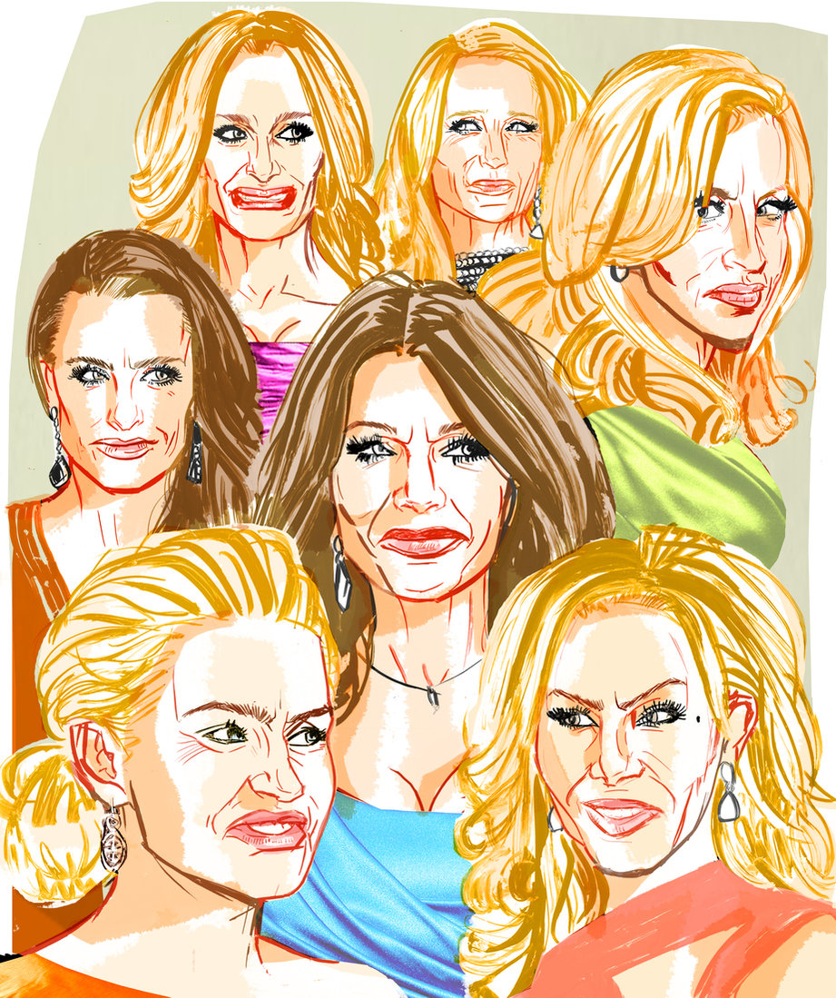 The Real Housewives of Beverly Hills for  Entertainment Weekly  Ink and collage 18 x 24 inches