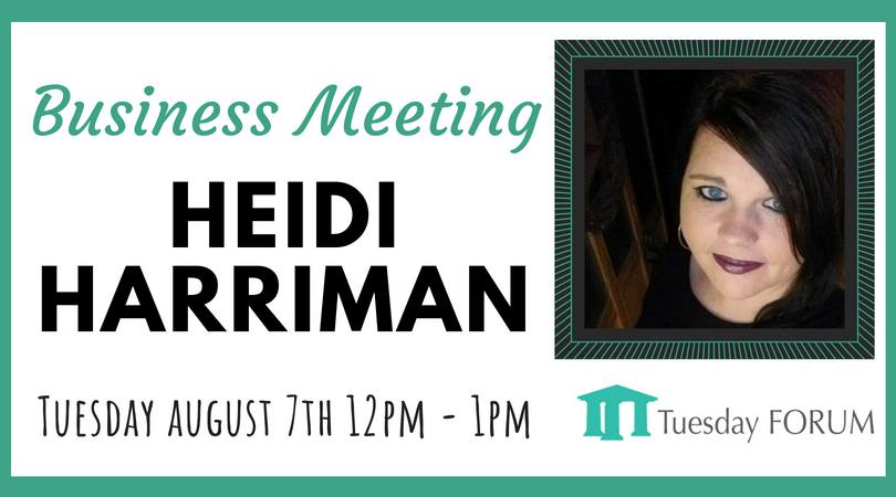 Come join us at our monthly business meeting! Each steering committee member will be going over the latest updates happening with Tuesday Forum. We will also be hearing from this month's business sponsor, Heidi Harriman. _____________________________________________________ In 2010 Heidi was hired as a Customer Service Rep for MidMaine Communications which has now been acquired by Otelco.  In 2012 she was promoted to Backup Supervisor for a year and then accepted a Senior Customer Service Rep position in 2013.  In 2016 she was then promoted to an Account Executive position which she currently holds. She manages 50 plus accounts from small to large businesses throughout the state of Maine and into NH and Mass. She is responsible for maintaining current accounts and bringing on new customers.  Outside of work she enjoys riding her 5 horses and spending time with family and friends.  _____________________________________________________ What is Tuesday Forum? Largest networking organization of working women offering support for personal and professional growth in the State of Maine.  Where To Find Future Events And More Info? Check out our new website! www.tuesdayforum.com   If you would like lunch the meal is $15.00 and you have several options to chose from. We take Cash and Checks at the door or you can prepay online here. The room opens at 11:30 AM if you would like to arrive early to mingle with the other members.  We look forward to seeing you at a meeting!