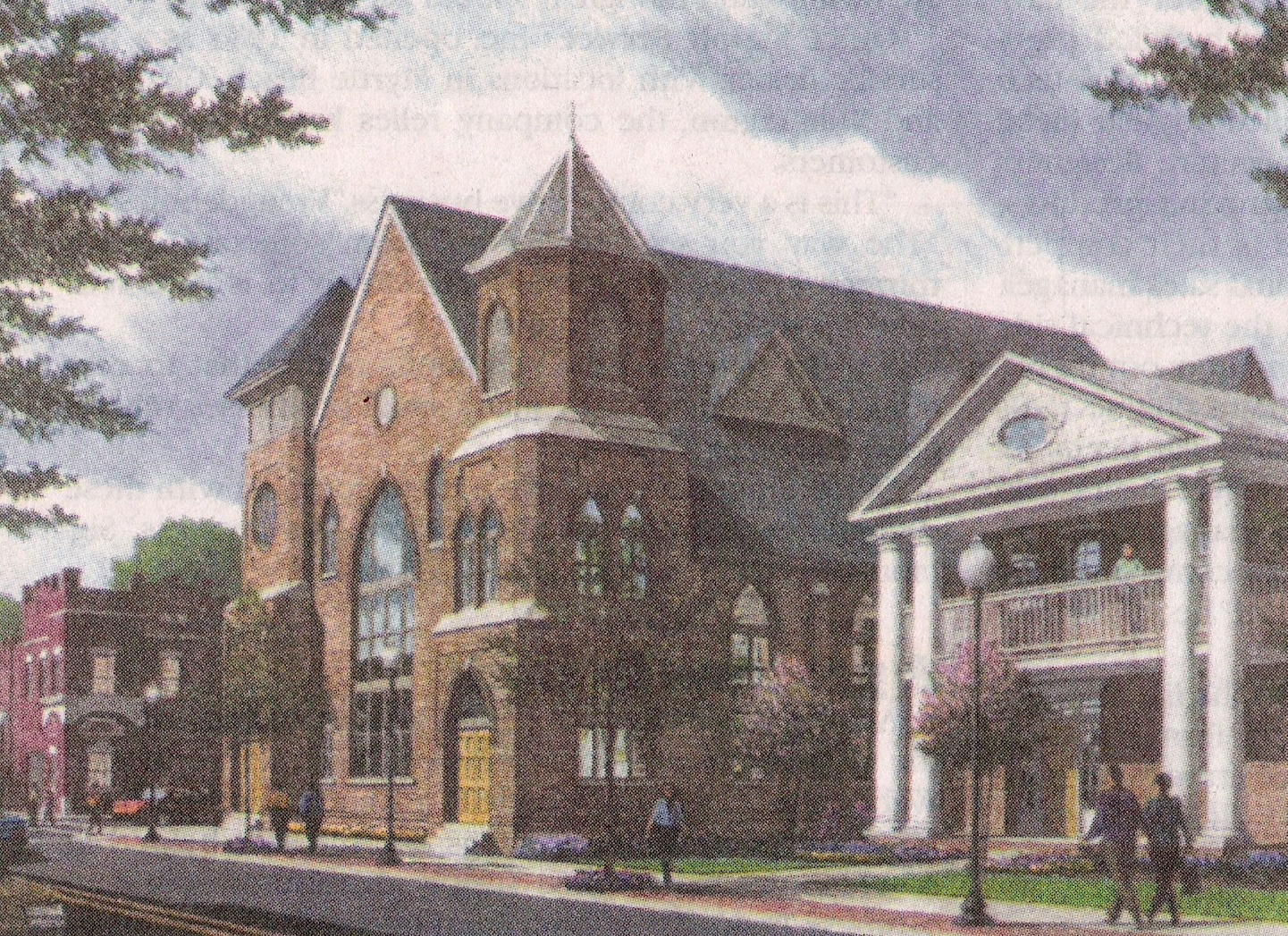 "Artist's rendering of The Brooklyn Arts Center church building and manse printed in the Greater Wilmington Business Journal, August 2004.  ""When complete, the local landmark will serve as a multi-cultural entertainment center and hall for special functions."" Photo Courtesy New Hanover County Public Library"