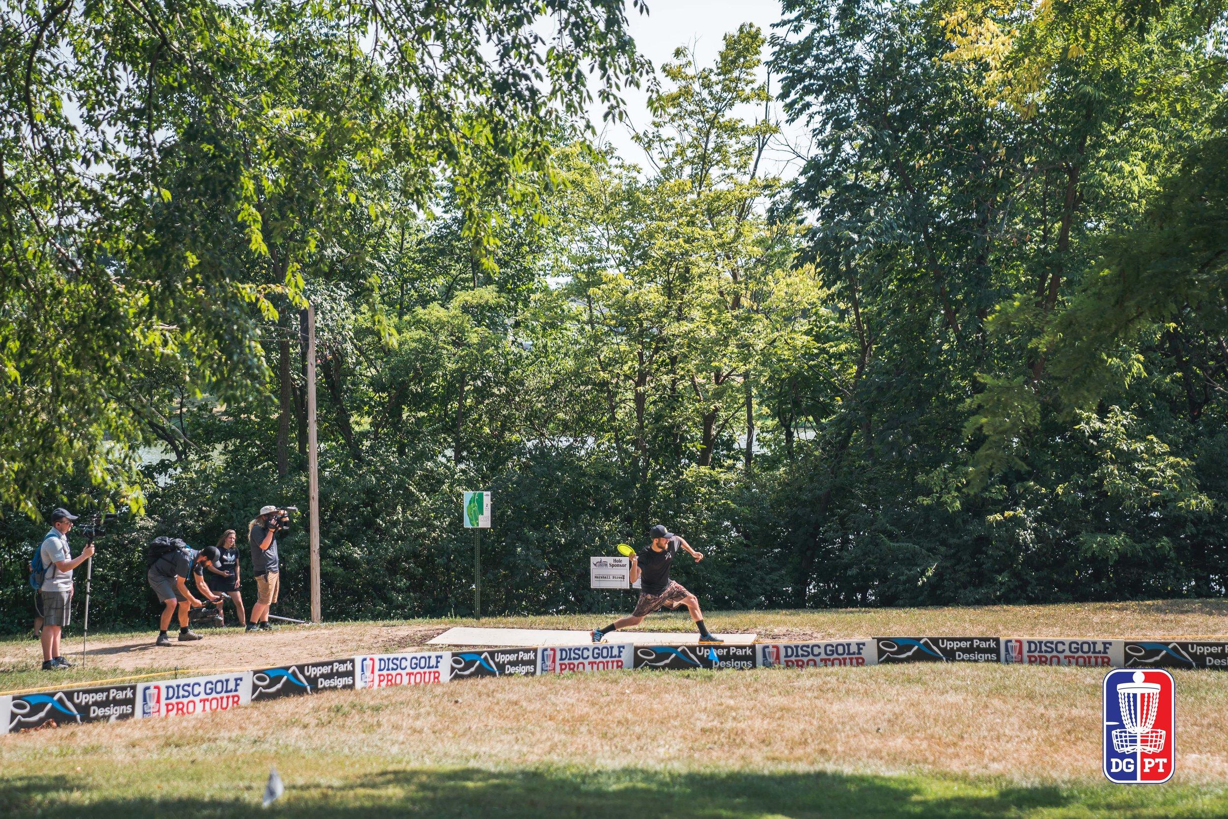 Chris Dickerson tee shot at Ledgestone Open (Photo: DGPT / Alyssa Van Lanen )