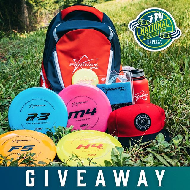 Happy #NationalDiscGolfDay! 🌎🥏To celebrate we want to help you get someone you care about into playing #DiscGolf, so we're giving away this great prize pack with some essential gear.⁠ ⁠ ✅ To enter, tag a friend, family member, co-worker, or anybody who you think should start playing Disc Golf! The winner will be chosen randomly on Monday, August 5th.⁠ •••⁠ #prodigydisc #poweredbyprodigy #getoncourse #jointhepdga #discgolflife #discgolfshoutouts