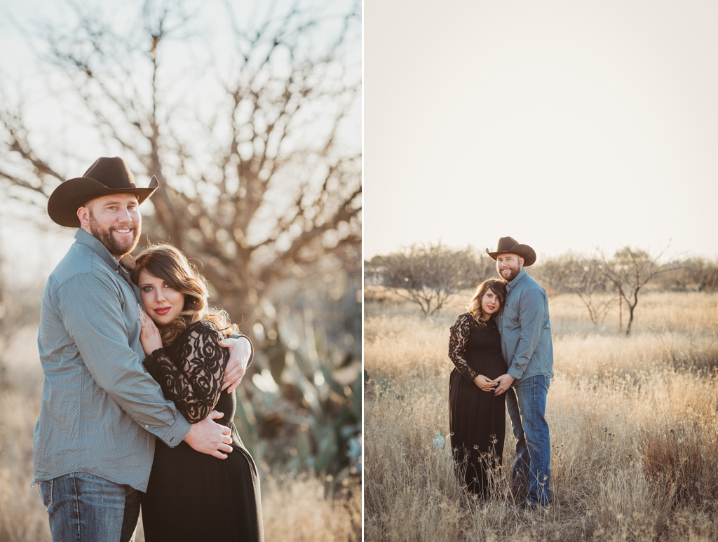 rustic maternity session at sunset in midland texas