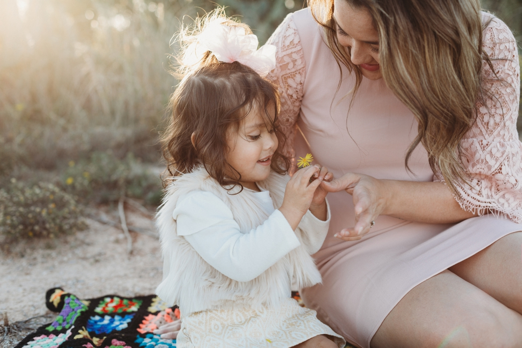 Pink and blue outdoor family session