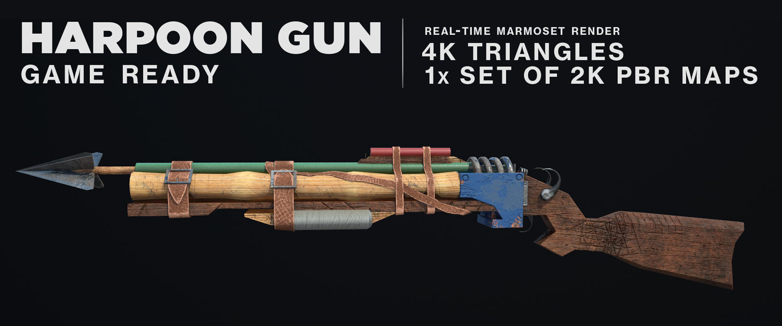 Harpoon Gun made out of improvised scraps. Modeled in Maya, textured in Substance Painter and renderd in Marmoset.