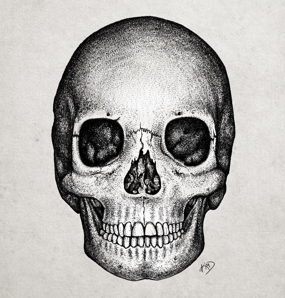 Skull in pointillism