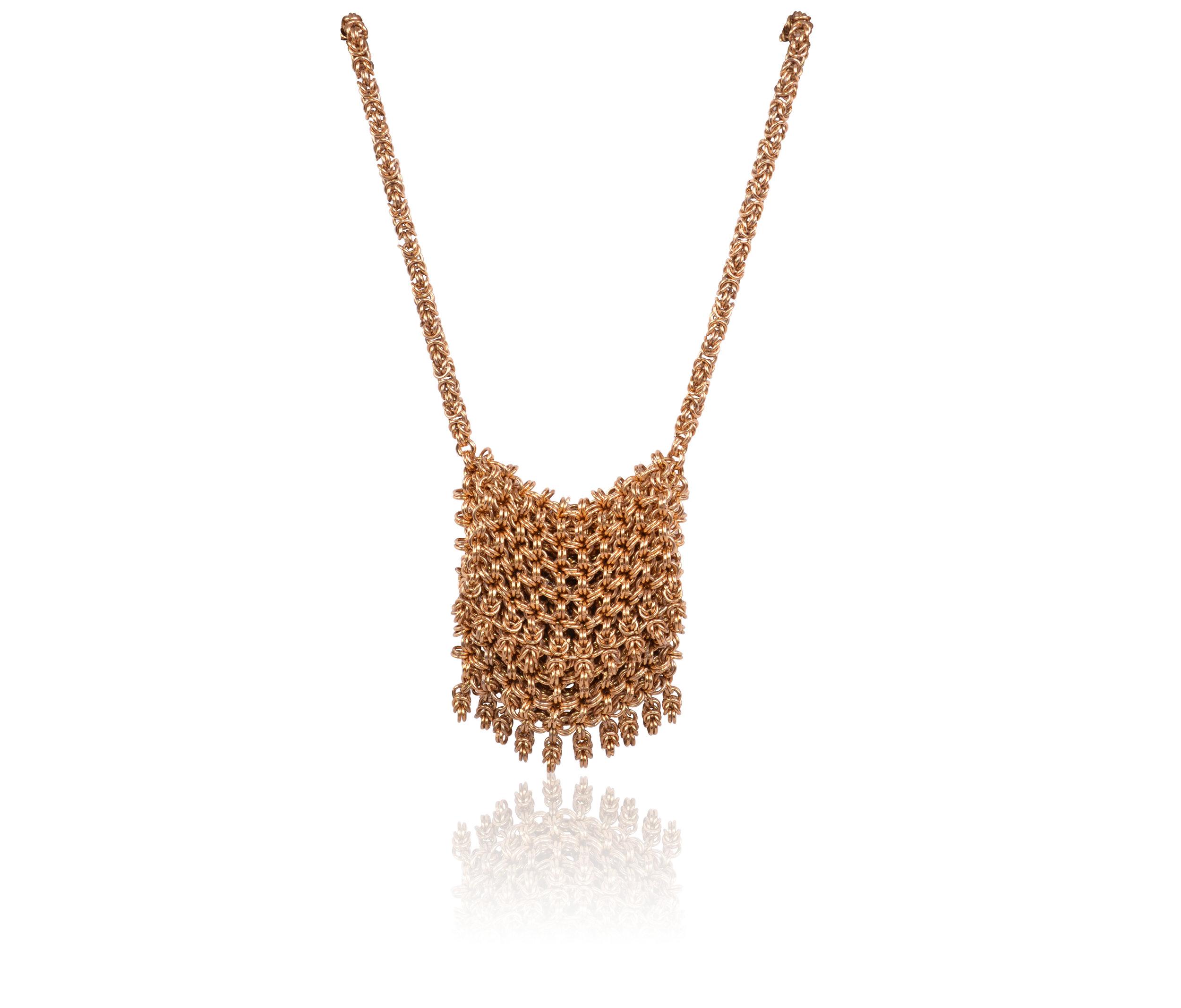 LIA051GD_1 - Lily Agresti - 'Gricel' Handmade Mesh Purse Necklace - Handmade Jewellery UK -.jpg