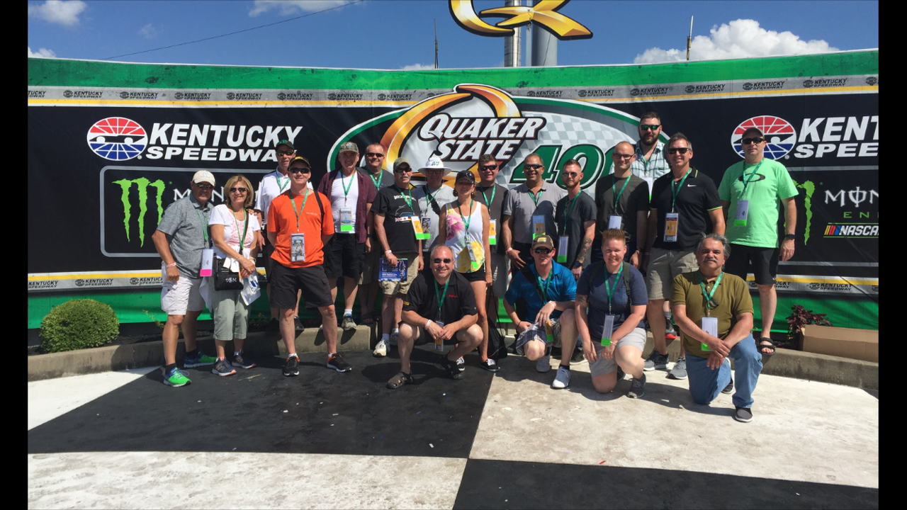 Hyundai guests from Canada stop in Victory Lane together. For many, this was their first NASCAR race!